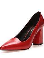 cheap -Women's Shoes Cowhide Summer Comfort Heels Chunky Heel Pointed Toe White / Black / Red