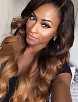cheap -Remy Human Hair Lace Front Wig Wig Brazilian Hair Wavy Layered Haircut 130% Density With Baby Hair / Ombre Hair / Natural Hairline Brown Women's Short / Long / Mid Length Human Hair Lace Wig