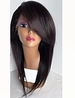cheap -Remy Human Hair Lace Front Wig Wig Brazilian Hair Straight Layered Haircut 130% Density Natural Hairline / With Bangs Black Women's Short Human Hair Lace Wig
