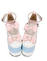 abordables -Chaussures Doux / Lolita Classique / Traditionnelle Princesse Hauteur de semelle compensée Chaussures Couleur Pleine 15 cm CM Bleu Pour PU