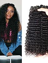 Недорогие -4 Связки Бразильские волосы Кудрявый Натуральные волосы Человека ткет Волосы / Удлинитель 8-28 дюймовый Ткет человеческих волос Машинное плетение Лучшее качество / 100% девственница / вьющийся