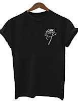 baratos -t-shirt feminina - decote redondo em cor sólida
