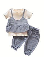 billiga -Bebis Flickor Enfärgad Kortärmad Klädesset