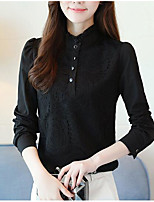 cheap -Women's Basic / Street chic Shirt - Solid Colored Beaded / Lace Trims