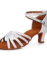 baratos -Mulheres Sapatos de Dança Latina Cetim Têni Salto Cubano Personalizável Sapatos de Dança Branco