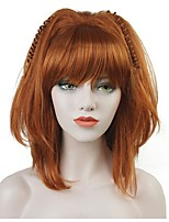 cheap -Synthetic Wig Straight Bob Haircut Synthetic Hair 100% kanekalon hair Red Wig Women's Mid Length Capless / Yes