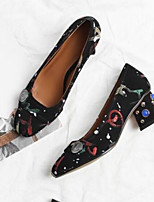 cheap -Women's Shoes Sheepskin Summer Comfort Heels Chunky Heel Pointed Toe Rhinestone Red / Blue