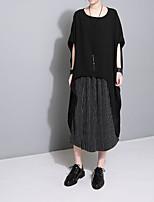 abordables -Tee-shirt Femme, Couleur Pleine Plissé Rétro Noir & Blanc