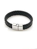 abordables -Homme Chaîne unique Bracelet - Cuir Elégant, Rétro Bracelet Noir Pour Quotidien