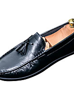 cheap -Men's Shoes Faux Leather Spring / Fall Moccasin Loafers & Slip-Ons Black / Orange / Army Green