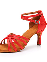 cheap -Women's Latin Shoes Satin Sneaker Slim High Heel Customizable Dance Shoes Red