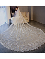 cheap -One-tier Fashionable Jewelry / Flower Style / Mesh Wedding Veil Chapel Veils 53 Scattered Bead Floral Motif Style 118.11 in (300cm) Tulle