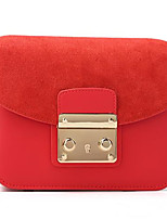 cheap -Women's Bags Cowhide Shoulder Bag Buttons Red / Blushing Pink / Gray