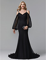 cheap -Mermaid / Trumpet Spaghetti Strap Court Train Chiffon / Lace Formal Evening Dress with Appliques / Pleats by TS Couture® / Celebrity Style