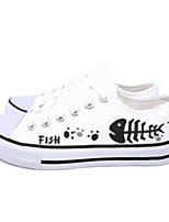 cheap -Women's Shoes Canvas Spring Vulcanized Shoes Sneakers Flat Heel Closed Toe Black / Red / Blue / Slogan
