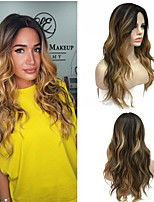 cheap -Synthetic Lace Front Wig / Ombre / Highlighted Hair Curly Blonde Deep Parting Synthetic Hair 100% kanekalon hair Blonde Wig Women's Long Lace Front / Yes