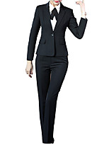 cheap -Women's Work Suits-Solid Colored Shirt Collar / Spring