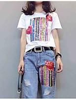Недорогие -женская футболка - радужная круглая шея