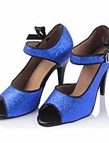 abordables -Femme Chaussures Latines Polyuréthane Talon Mince haut talon Chaussures de danse Bleu / Utilisation / Cuir / Entraînement