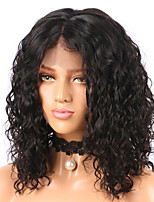 cheap -Remy Human Hair Lace Front Wig Wig Brazilian Hair / Water Wave Curly Bob Haircut 130% Density With Baby Hair / Natural Hairline / African American Wig Women's Short / Mid Length Human Hair Lace Wig