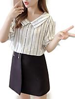 Недорогие -Жен. На выход Рубашка Рубашечный воротник Полоски