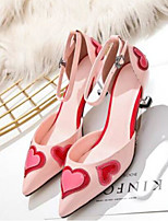 cheap -Women's Shoes Patent Leather Summer Mary Jane Heels Stiletto Heel Pointed Toe Buckle Black / Pink / Party & Evening