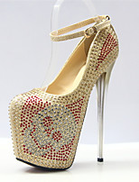 abordables -Mujer Zapatos Sintéticos Otoño invierno Pump Básico Tacones Tacón Stiletto Dedo redondo Pedrería / Hebilla Dorado / Boda / Fiesta y Noche