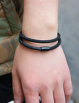 cheap -Men's Wrap Bracelet / Magnetic Bracelet - Leather Simple, Korean, Fashion Bracelet Black / Coffee For Gift / Daily