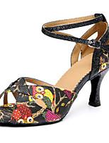baratos -Mulheres Sapatos de Dança Latina Couro Ecológico Salto Salto Alto Magro Sapatos de Dança Preto