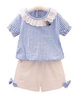 cheap -Toddler Girls' Plaid Short Sleeve Clothing Set