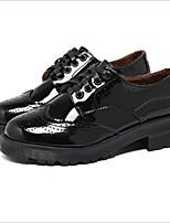 abordables -Femme Chaussures Polyuréthane Printemps Confort Oxfords Talon Bottier Noir / Bourgogne