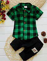 cheap -Kids Boys' Solid Colored / Plaid Short Sleeve Clothing Set