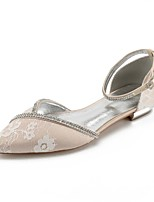 cheap -Women's Shoes Lace Spring Comfort / D'Orsay & Two-Piece Wedding Shoes Flat Heel Pointed Toe Rhinestone / Crystal / Sparkling Glitter Silver / Champagne / Ivory / Party & Evening