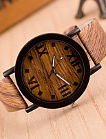 cheap -Women's Wrist Watch Chinese Casual Watch Leather Band Fashion / Wood Black / Brown / Grey