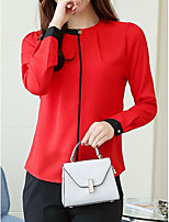 cheap -women's blouse - color block / solid colored round neck