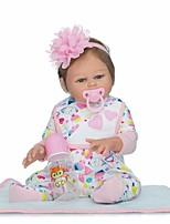 Недорогие -NPKCOLLECTION Куклы реборн Девочки 22 дюймовый Полный силикон для тела / Винил - Искусственная имплантация Коричневые глаза Детские Девочки Подарок