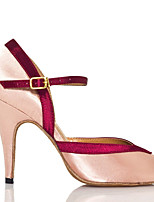 abordables -Mujer Zapatos de Baile Latino Satén Zapatilla Corte Slim High Heel Zapatos de baile Azul / Nudo