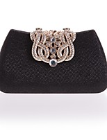 cheap -Women's Bags Polyester Evening Bag Buttons / Crystals Black / Silver / Red