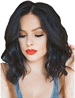 cheap -Synthetic Wig / Synthetic Lace Front Wig Wavy Middle Part Synthetic Hair Adjustable / Heat Resistant / Natural Hairline Black Wig Women's Short Lace Front / African American Wig / Yes