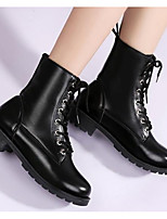 cheap -Women's Shoes PU(Polyurethane) Fall Comfort / Snow Boots Boots Chunky Heel Mid-Calf Boots Black