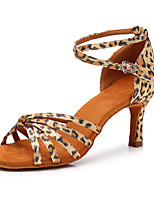 cheap -Women's Latin Shoes Satin Sneaker Leopard Slim High Heel Customizable Dance Shoes Leopard