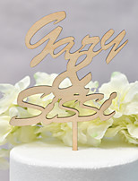 cheap -Cake Topper Classic Theme / Wedding Love Wooden / Bamboo Wedding / Anniversary with Net 1 pcs OPP