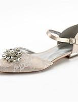 abordables -Mujer Zapatos Encaje Primavera Confort / D'Orsay y Dos Piezas Zapatos de boda Tacón Plano Dedo Puntiagudo Pedrería / Cristal / Purpurina Plateado / Champaña / Marfil / Boda / Fiesta y Noche