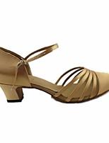 preiswerte -Damen Schuhe für modern Dance Satin Absätze Starke Ferse Tanzschuhe Gold / Leistung / Praxis