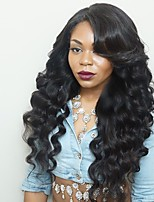 cheap -Remy Human Hair Lace Front Wig Brazilian Hair Wavy Wig Layered Haircut 150% Natural Hairline / For Black Women Black Women's Long Human Hair Lace Wig