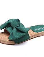 Недорогие -Жен. Обувь Хлопок Лето Удобная обувь Тапочки и Шлепанцы На плоской подошве Открытый мыс Бант Черный / Коричневый / Зеленый