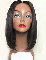 cheap -Remy Human Hair Lace Front Wig Wig Brazilian Hair Straight Bob Haircut / Short Bob 130% Density With Baby Hair / Natural Hairline / Middle Part Black Women's Short Human Hair Lace Wig