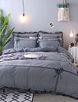 cheap -Duvet Cover Sets Geometric / Stripes / Ripples Polyster Yarn Dyed 4 Piece