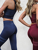 cheap -Women's Yoga Pants With Top - Black, Burgundy, Dark Navy Sports High Rise Tights / Leggings / Crop Top Running, Fitness, Gym Activewear Compression, Sweat-wicking, Butt Lift Stretchy