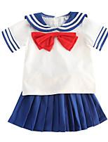 cheap -Kids Girls' Patchwork Short Sleeve Clothing Set